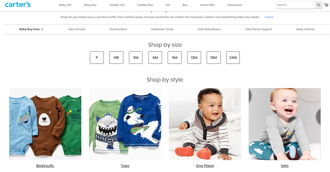 Online catalogue of baby boy clothes.