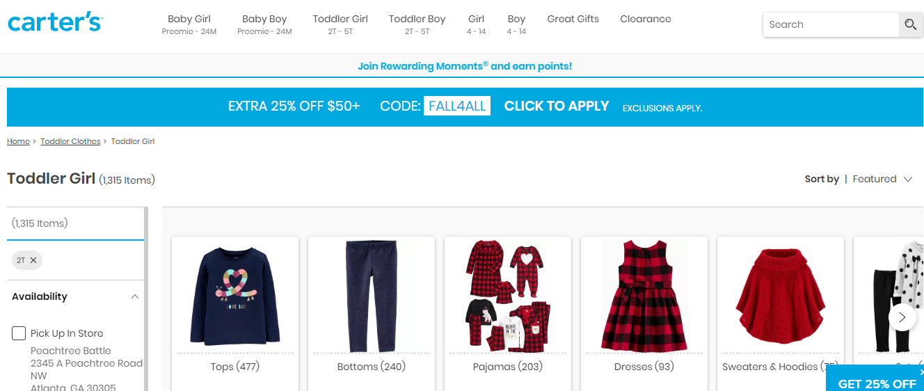 Online catalogue of toddler girl clothes.