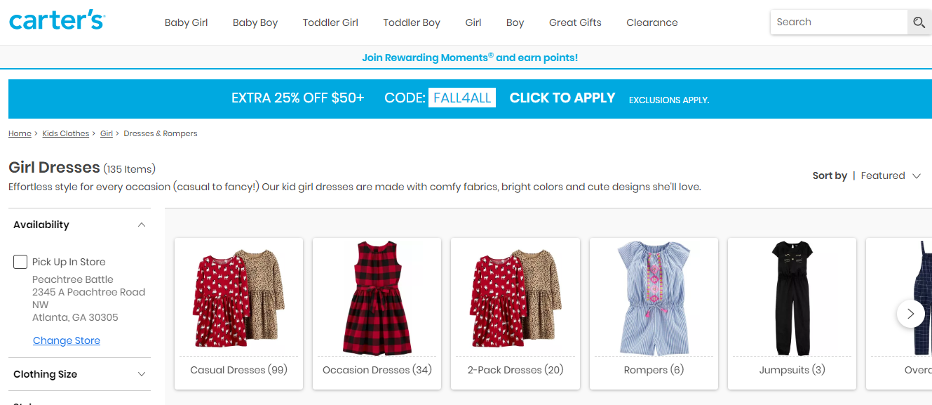 Online catalogue of girl dresses.
