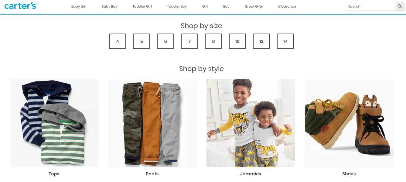 Online catalogue of boy clothes.