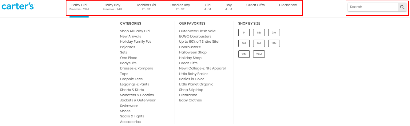 Product category dropdown on Carter s website.