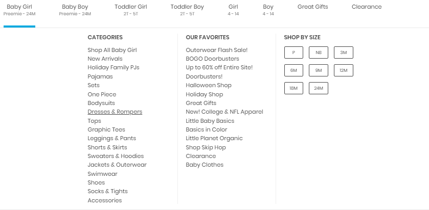 Baby girl product category dropdown on Carter s website.