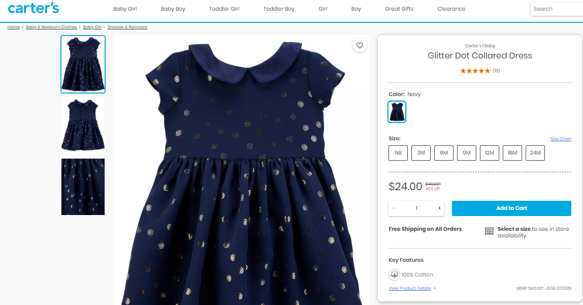 Product description of a toddler girl s dress.