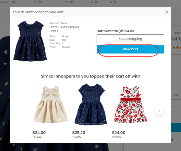 A toddler girl s dress added to an online cart.