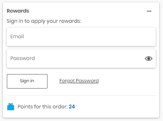 Section to sign in to Carter s account to apply rewards.