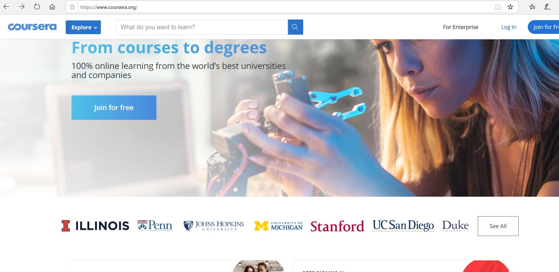 Coursera website homepage.