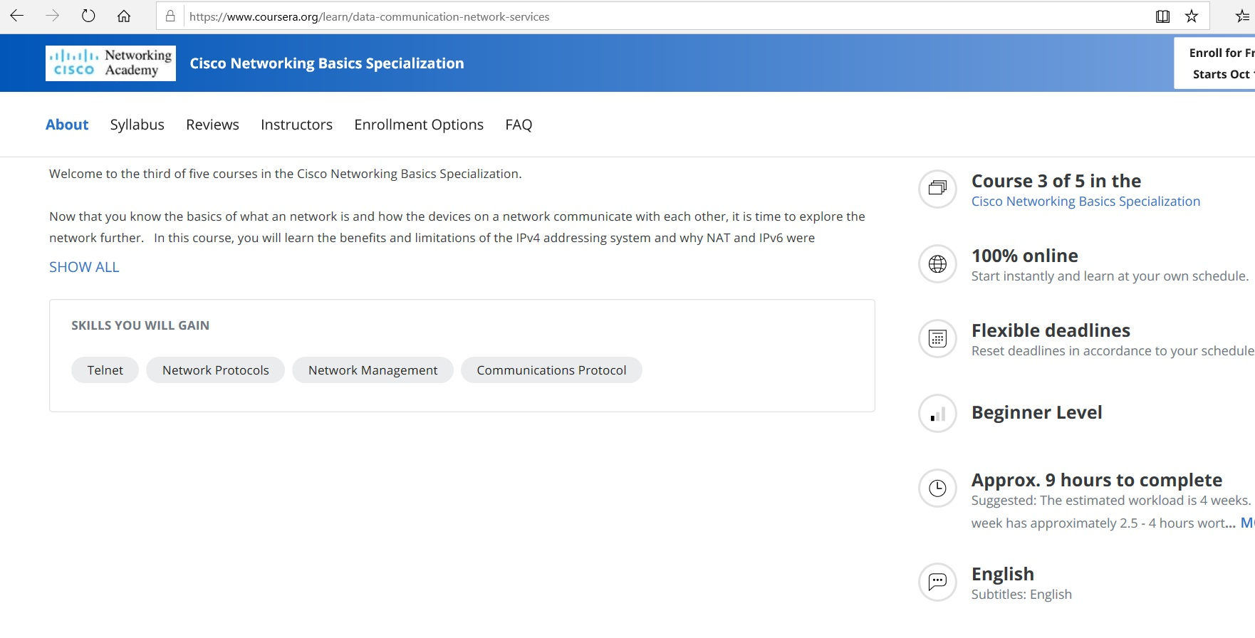 Cisco Networking Basics Specialization course details.