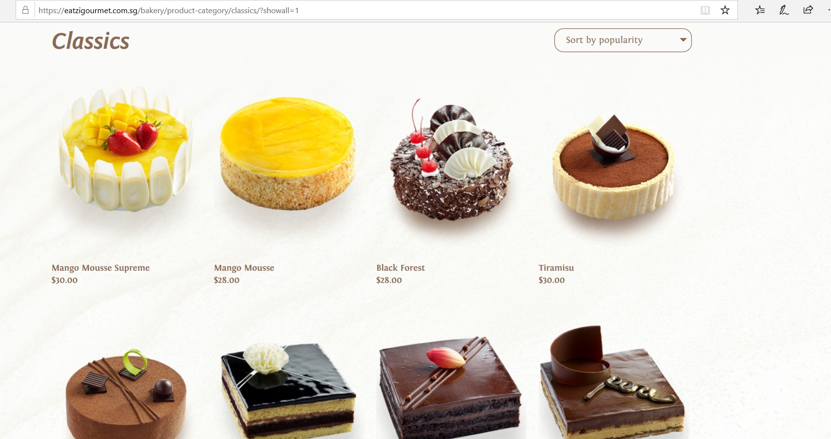 Catalogue of classic cakes.