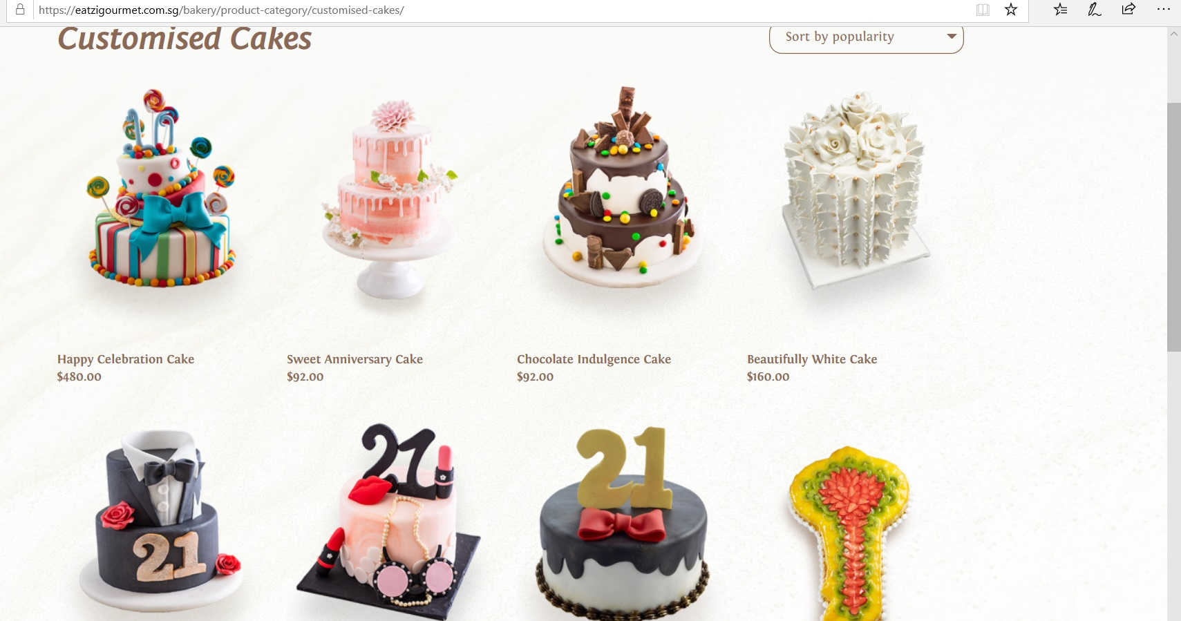Catalogue of customised cakes.