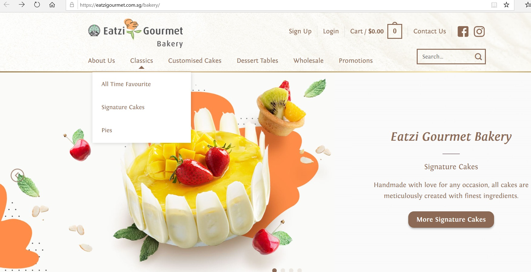 Eatzi Gourmet Bakery homepage with a product category dropdown.