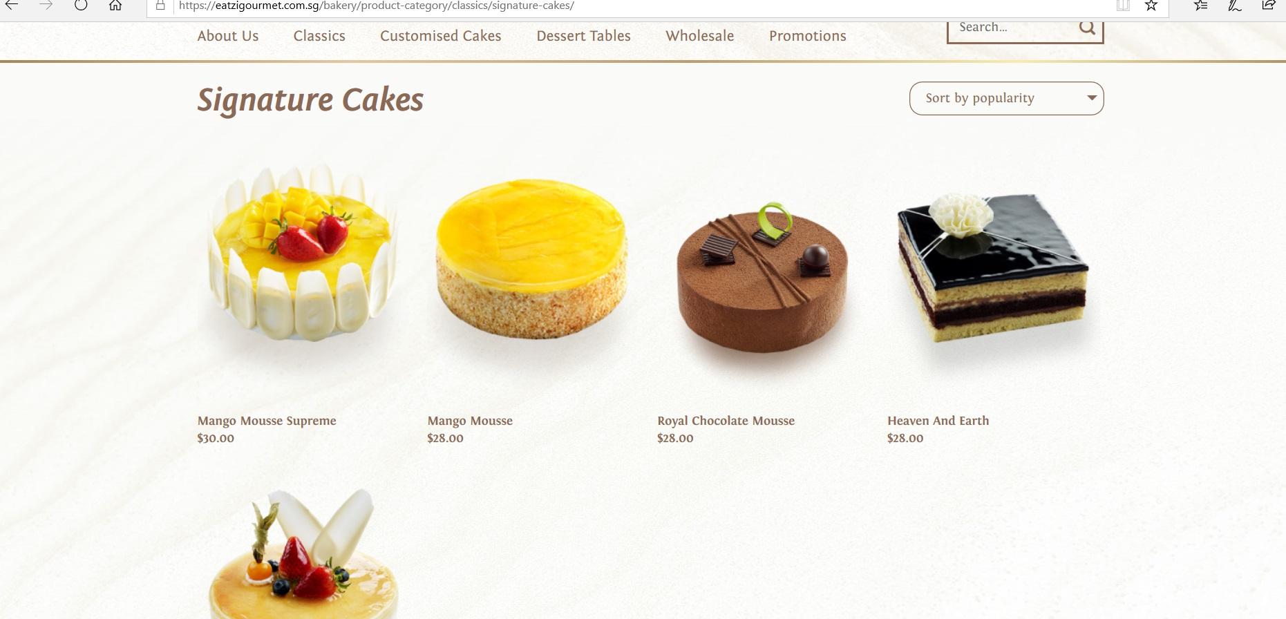 Catalogue of signature cakes.