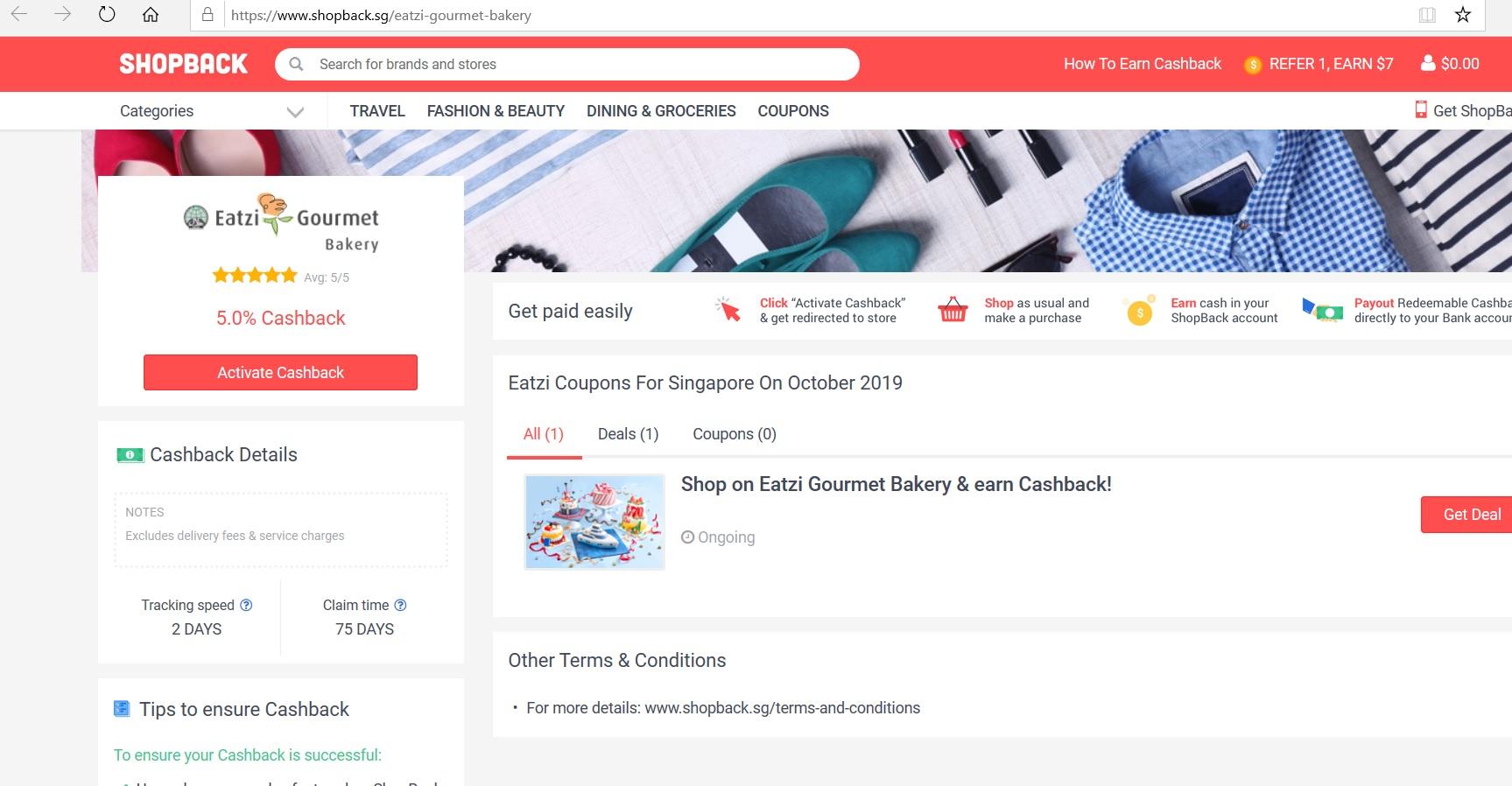 Eatzi Gourmet Bakery page on ShopBack.