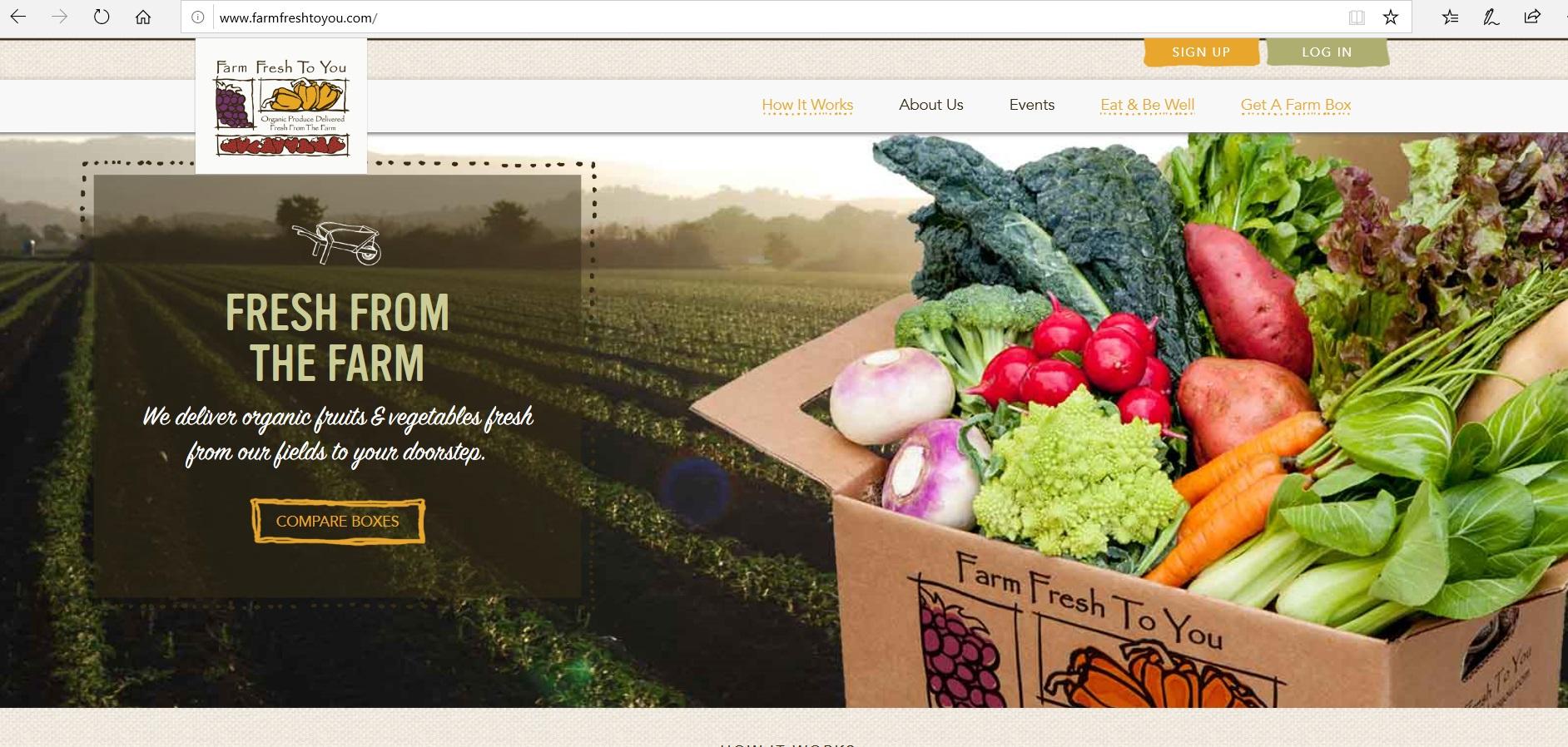 Farm Fresh To You homepage.