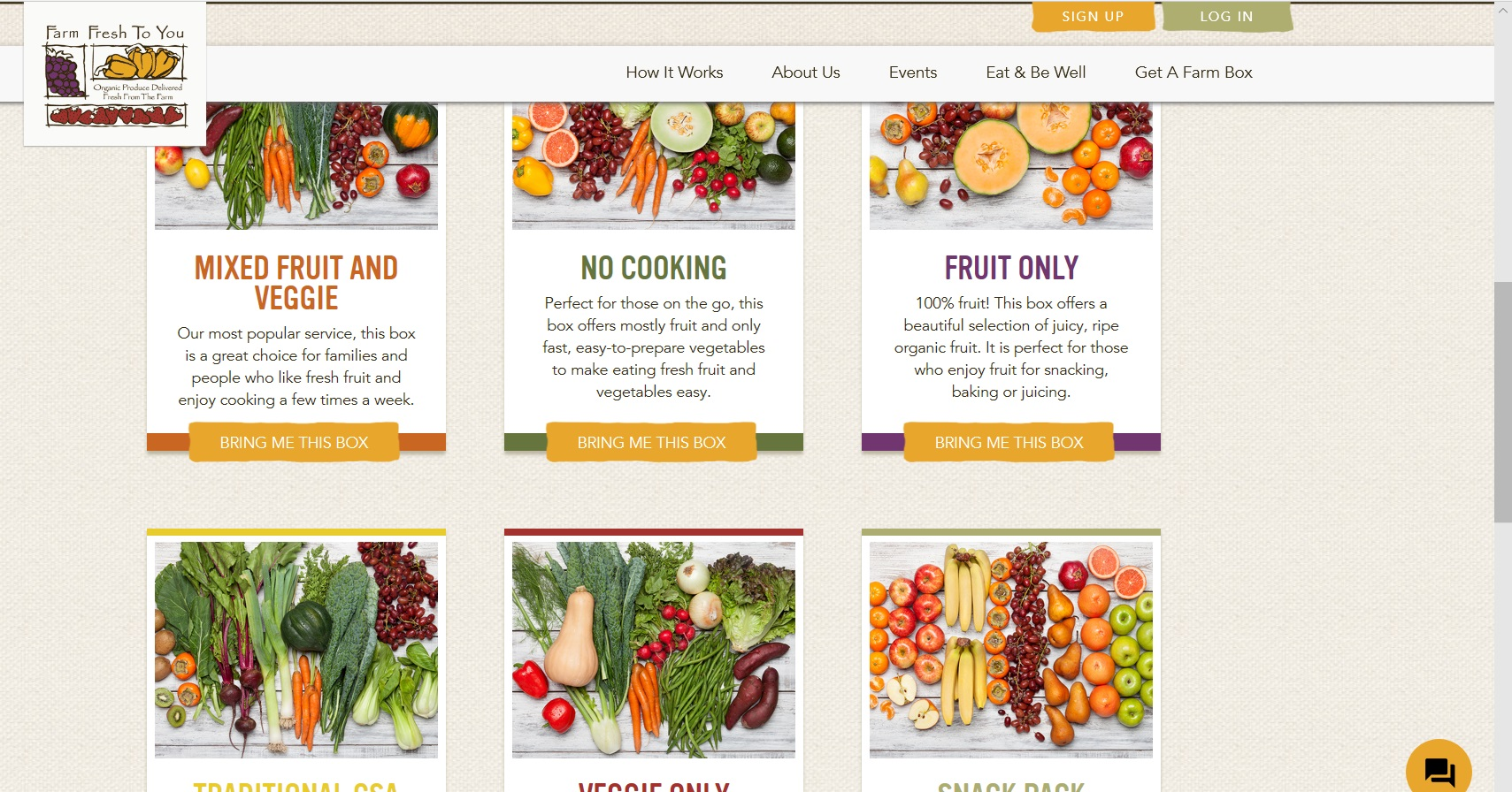 Catalogue of Farm Fresh To You boxes.
