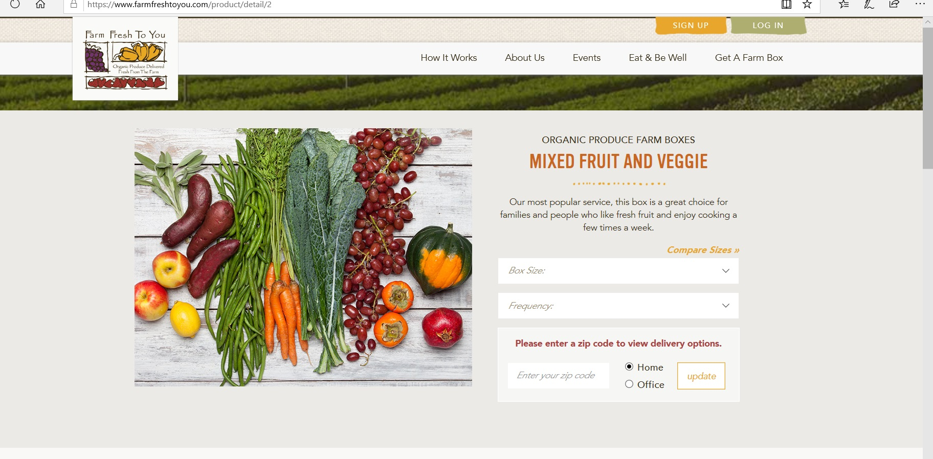 Product description of a Mixed Fruit and Veggie box.