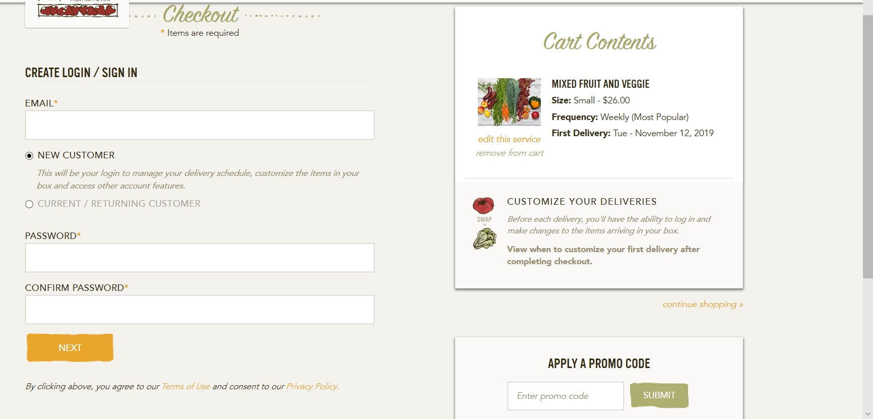 Form to login or sign up as a Farm Fresh To You member.