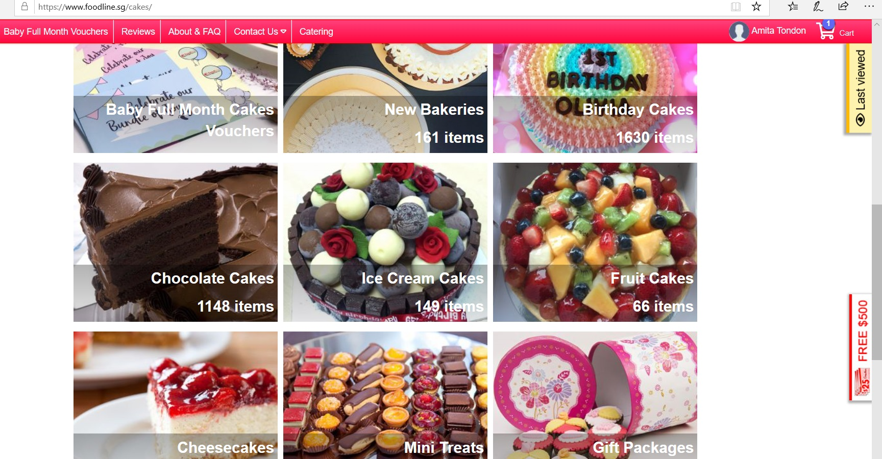 Online catalogue of cakes.