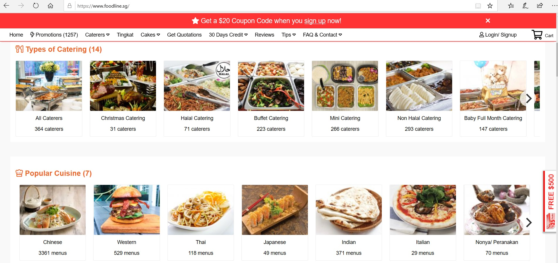 Catalogue of catering types and popular cuisines.