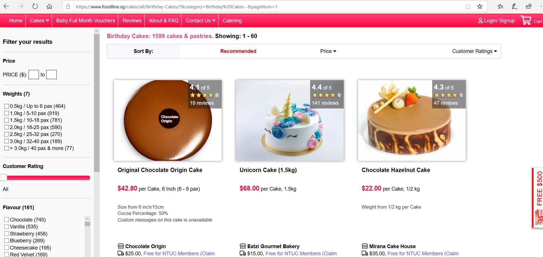 Catalogue of birthday cakes.