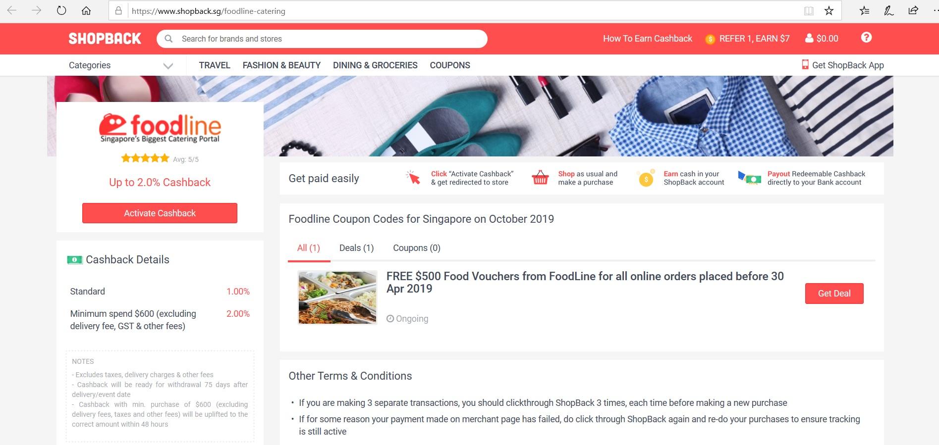 FoodLine page on ShopBack.