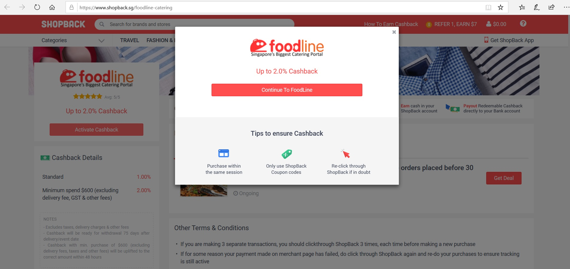 Button to activate FoodLine cashback.