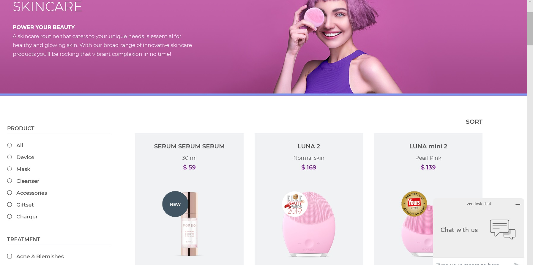 Catalogue of FOREO skincare products.