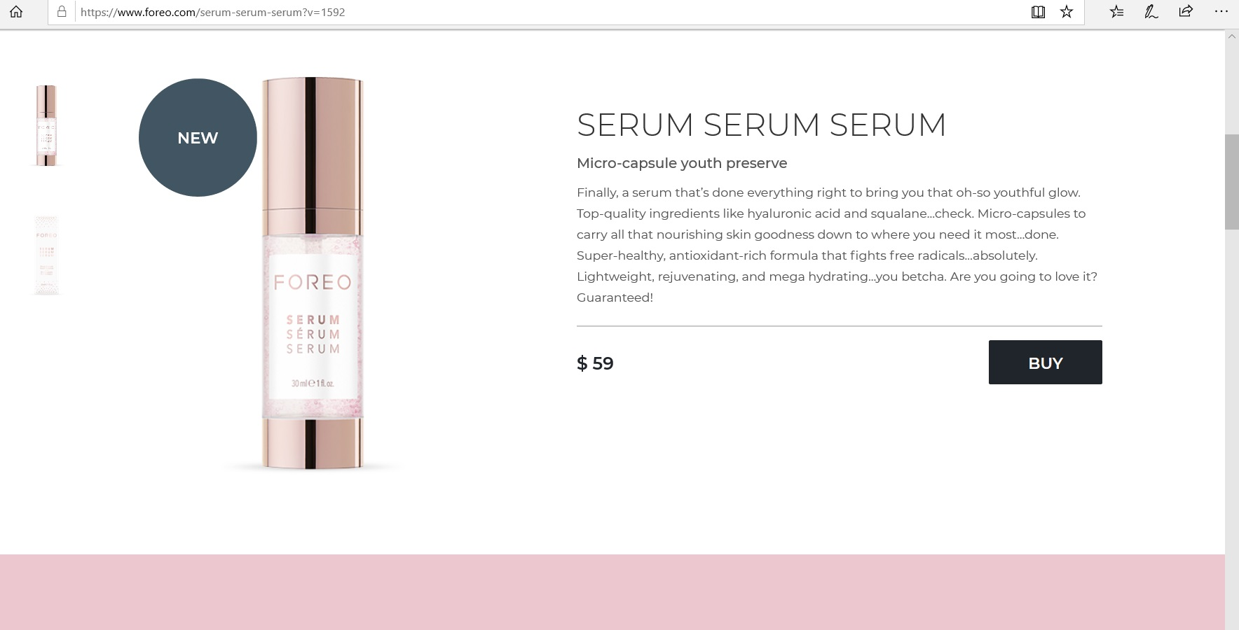 Product description of a FOREO serum.