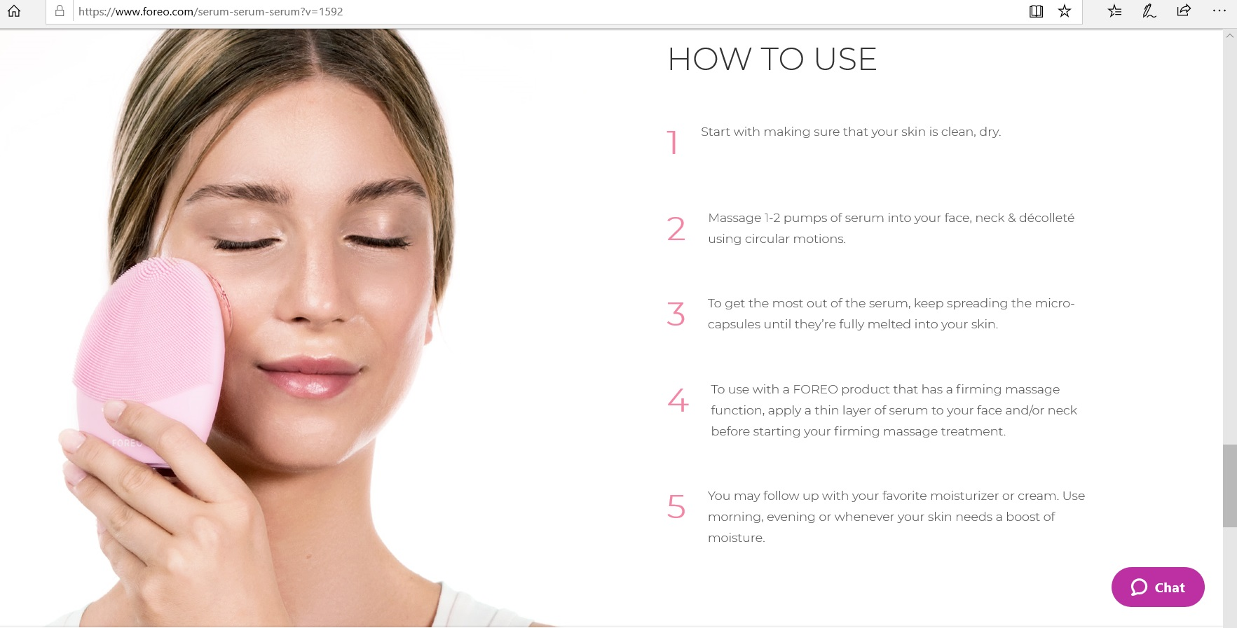 Instructions on how to use the serum.