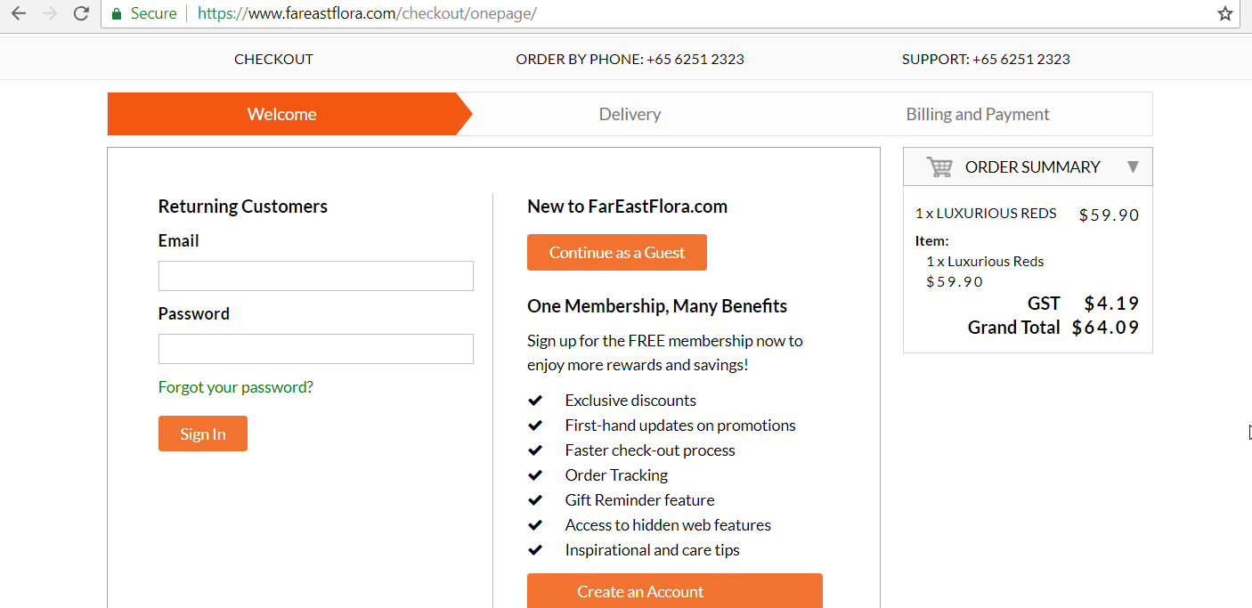 Option to sign in to or sign up for a Far East Flora account.