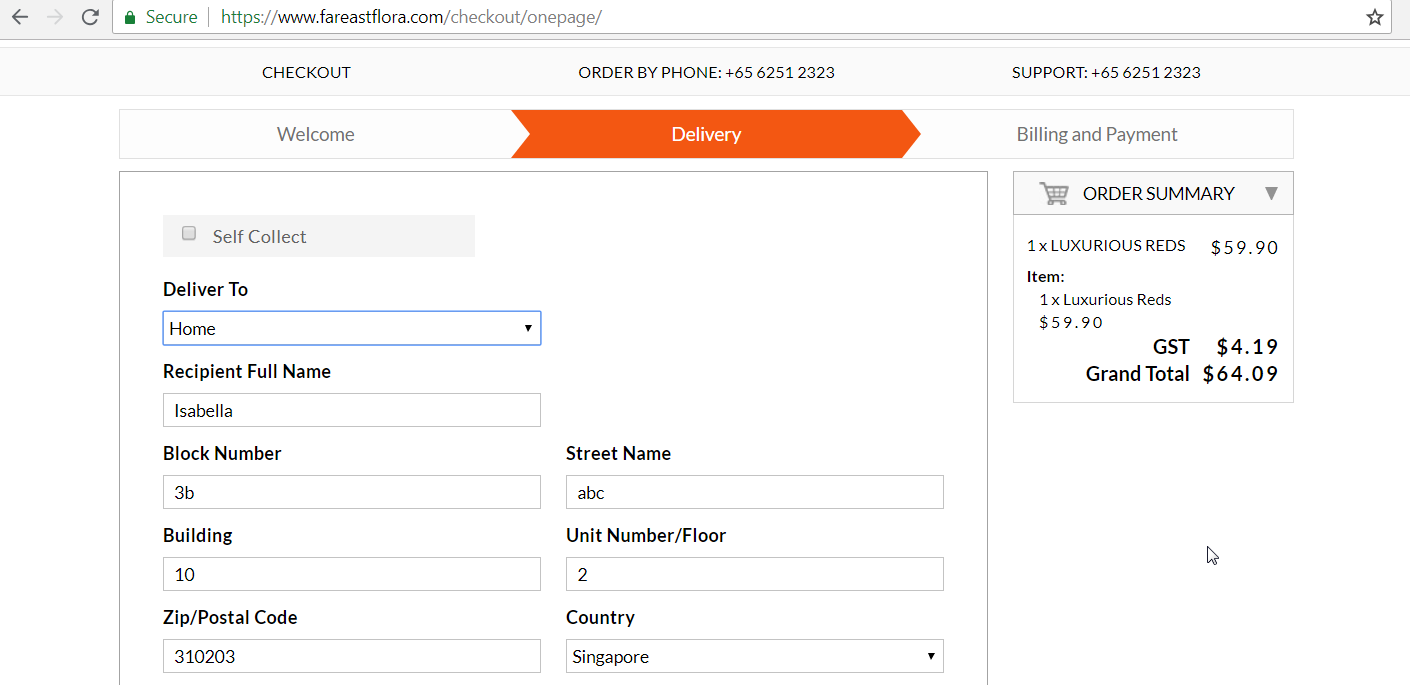 Form to enter personal details for home delivery.