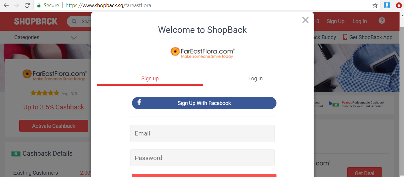 Button to activate Far East Flora cashback.