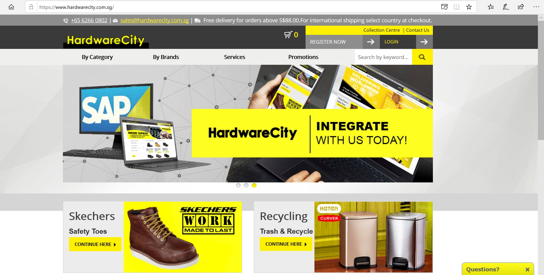 Hardware City website homepage.