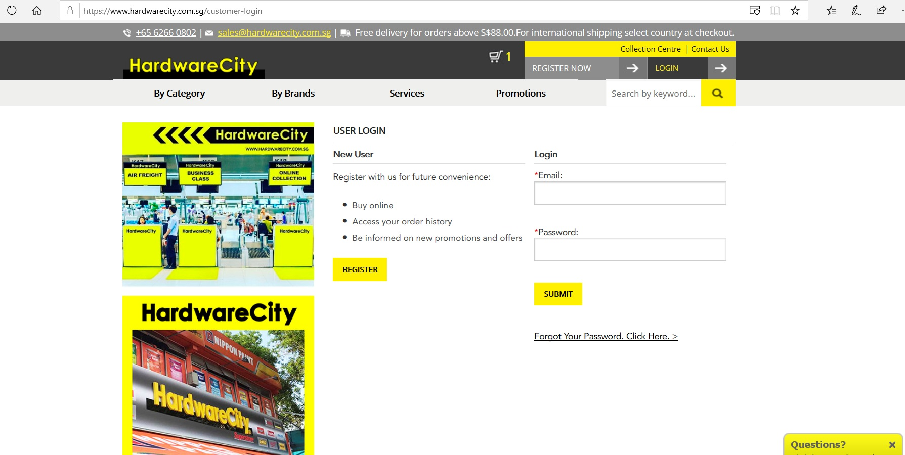 Page to log in to or create a Hardware City account.