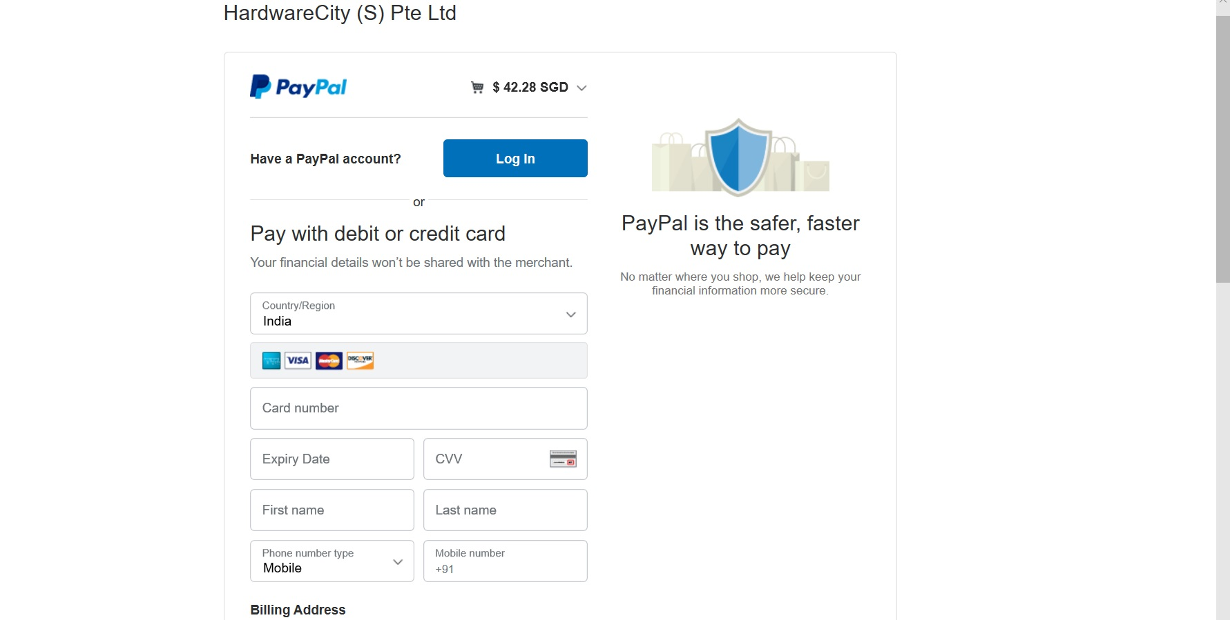 Form to enter card details for Paypal payment.