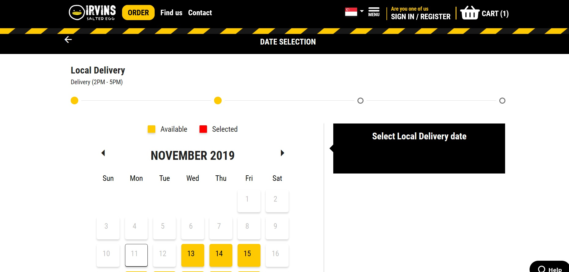 Section to choose local delivery date.