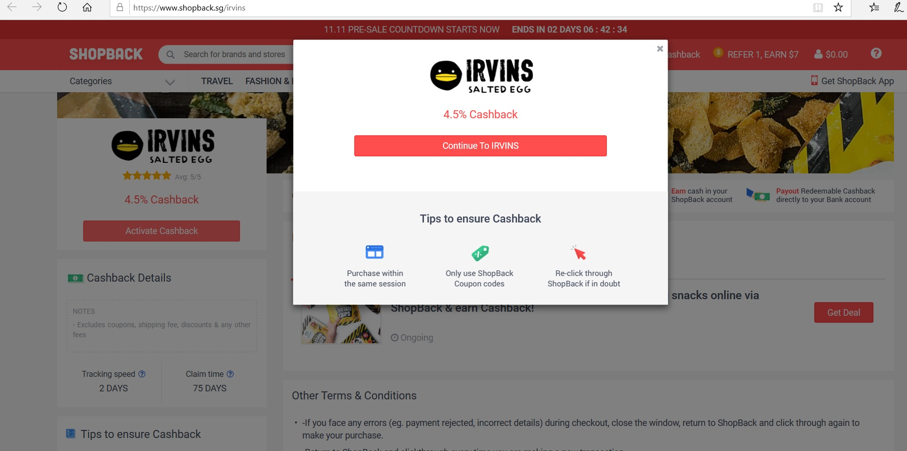 Button to activate IRVINS cashback.