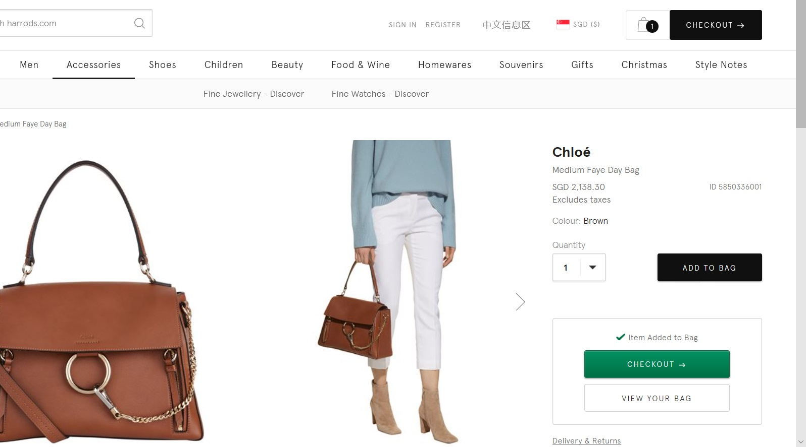Women s bag added to cart.