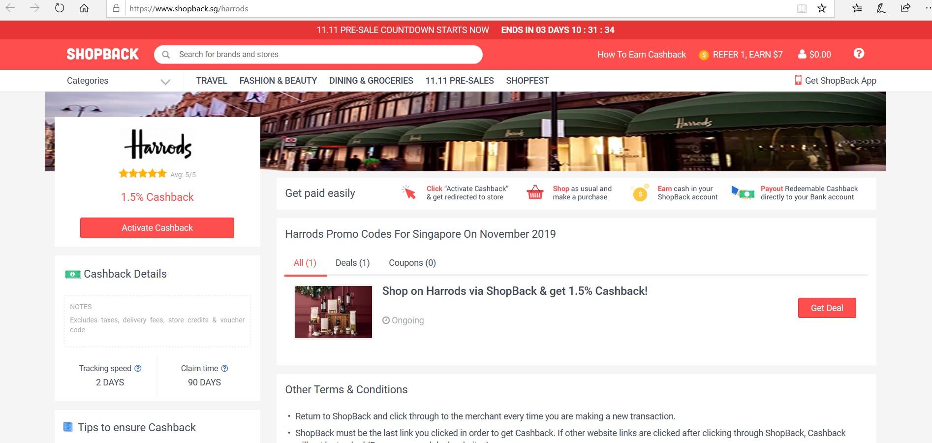 Harrods page on ShopBack.