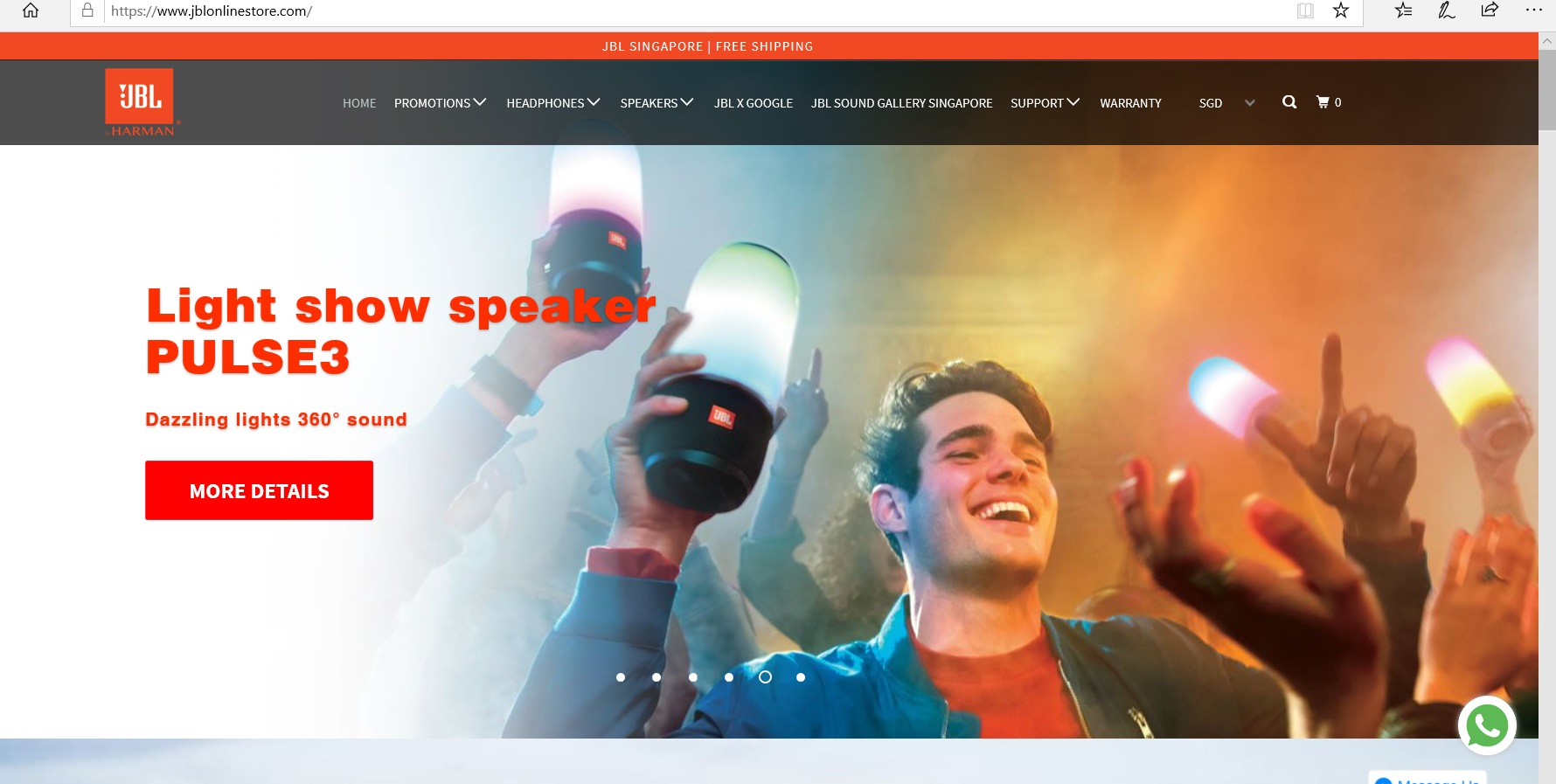 JBL website homepage.