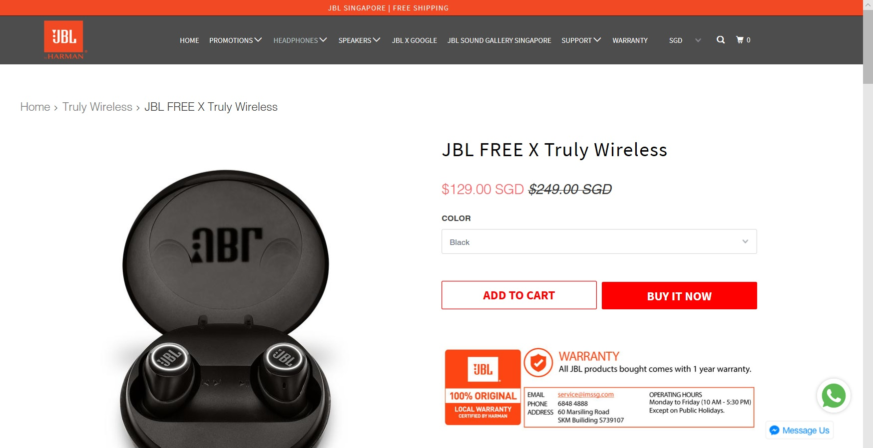 Product description of JBL headphones.