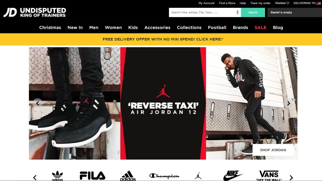 JD Sports website homepage.
