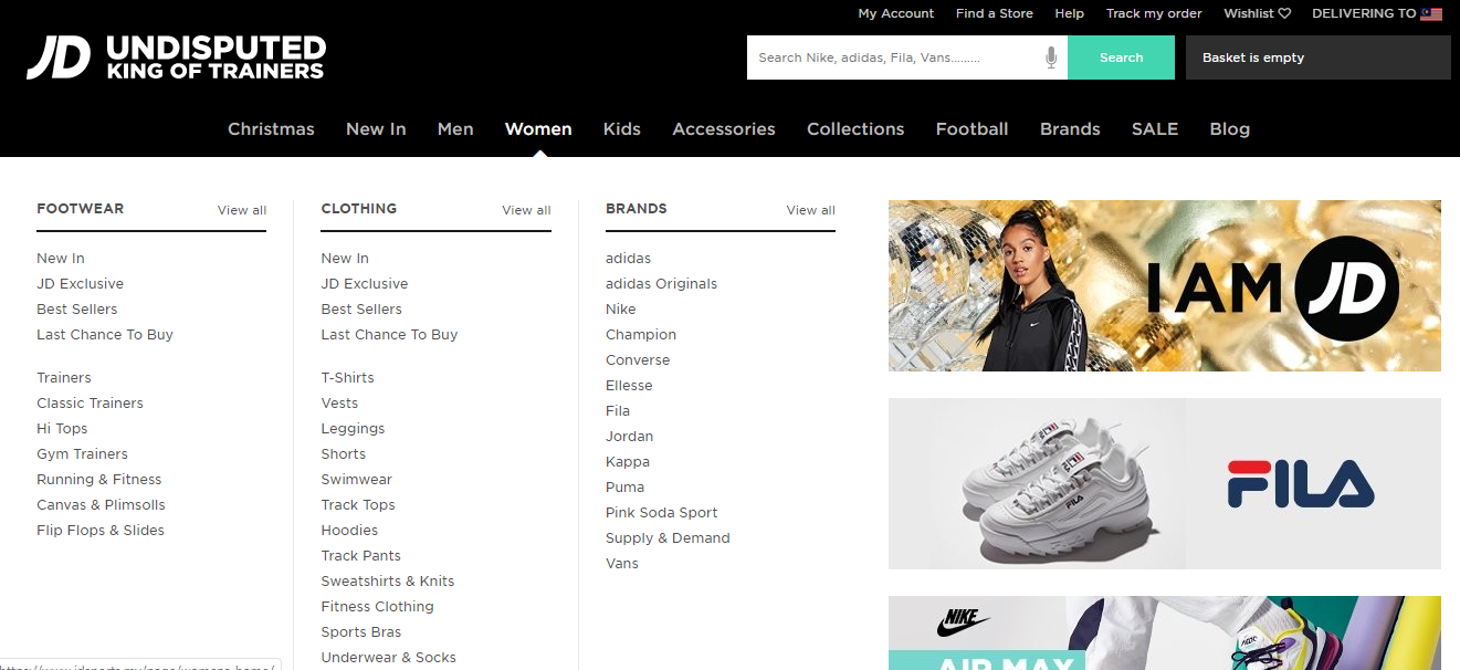 JD Sports product category dropdown.
