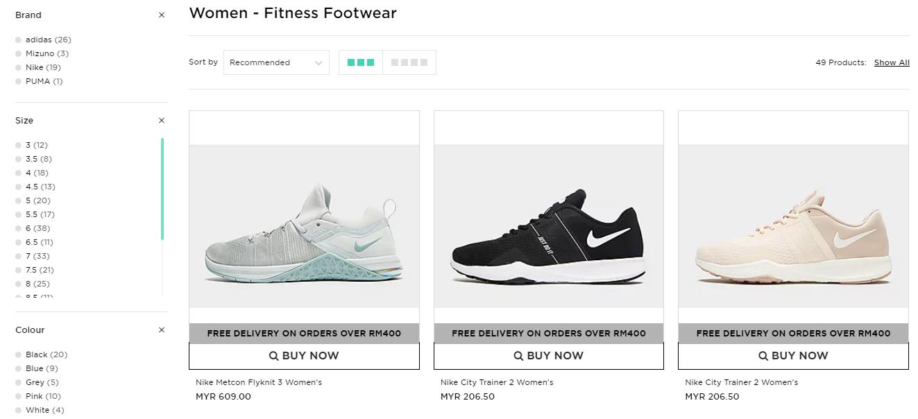 Catalogue of women s fitness footwear.