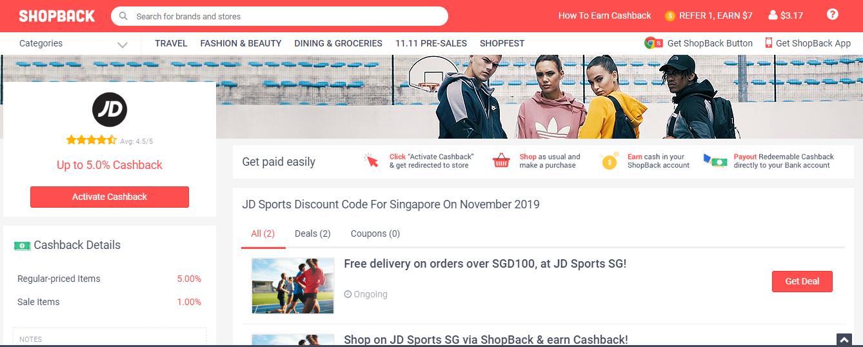JD Sports page on ShopBack.