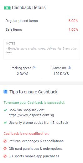 Cashback details for JD Sports.