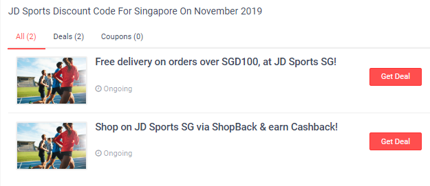 JD Sports  deals and coupons section.