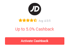 Button to activate JD Sports cashback.