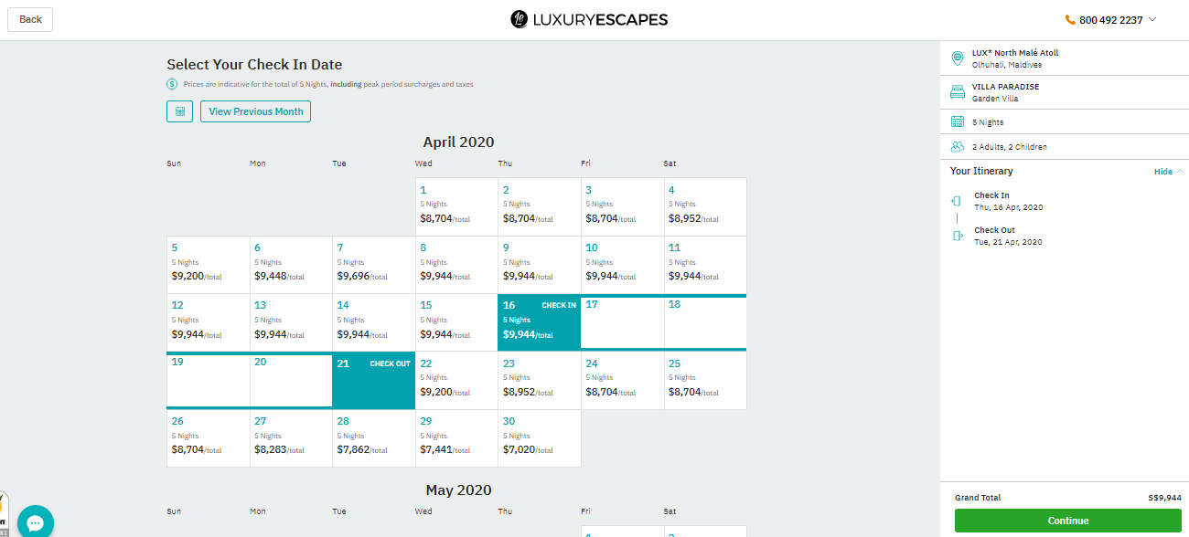 Calendar to specify check in and check out dates.