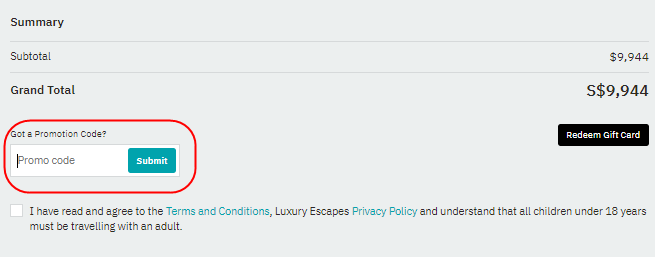 Section to enter a Luxury Escapes promo code.