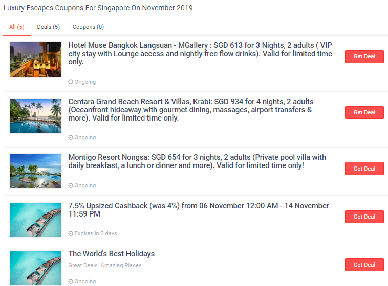 Luxury Escapes deals and coupons on ShopBack.